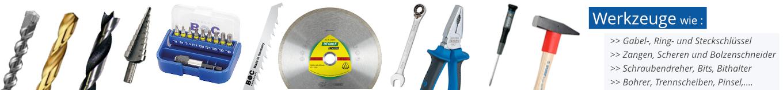 Werkzeuge, Bohrer, Trennscheiben, Gabelschlüssel, Steckschlüssel