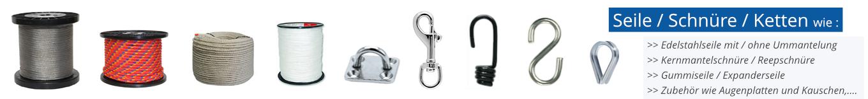 Seile, Edelstahlseile, Stahlseile, Kunststoffseile, Karabiner, Augenplatten