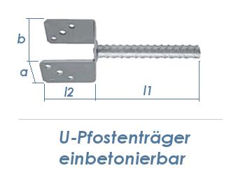 81mm U-Pfostenträger einbetonierbar (1 Stk.)