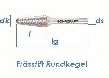6mm HM-Frässtift Rundkegel (1 Stk.)