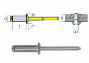 6 x 12mm Blindniete Alu/Stahl DIN7337 (10 Stk.)