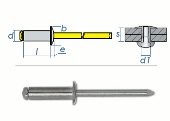 6 x 16mm Blindniete Alu/Stahl DIN7337 (10 Stk.)