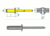 4 x 16mm Blindniete Stahl/Stahl DIN7337 (10 Stk.)
