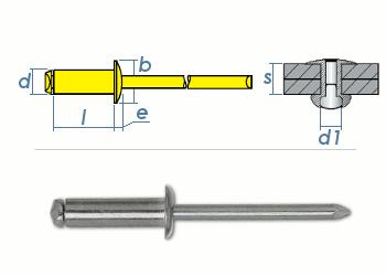 5 x 16mm Blindniete Stahl/Stahl DIN7337 (10 Stk.)