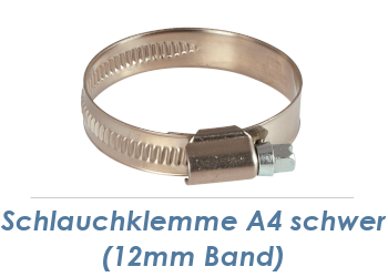 80-100mm / 12mm Band Schlauchklemmen Edelstahl A4 (1 Stk.)
