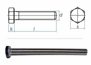M4 x 20mm Sechskantschrauben DIN933 Vollgewinde Edelstahl A2 (10 Stk.)