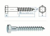 10 x 80mm Sechskant-Holzschrauben DIN 571  Verzinkt (10...