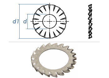4,3mm Fächerscheiben Form AZ  DIN6798 Edelstahl A2 (100 Stk.)