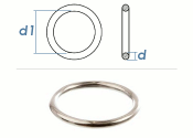 6 x 40mm Ring geschweißt Edelstahl A4 (1 Stk.)
