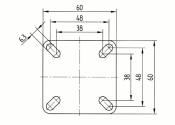 50 x 19mm Lenkrolle Gummi mit Feststeller und Anschraubplatte (1 Stk.)