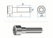 M2 x 4mm Zylinderschrauben TX ISO14579 Edelstahl A2 (10...