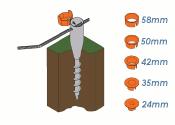 24-58mm x 560mm Einschraubbodenhülse rund feuerverzinkt (1 Stk.)