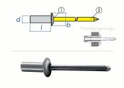 3,2 x 8mm Dicht-Becherblindniete Alu/Stahl DIN15973 (10...
