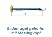 2 x 20mm Bildernagel gehärtet mit Messingkopf (10 Stk.)