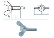 M6 x 16mm Flügelschrauben DIN316 Stahl verzinkt (1...