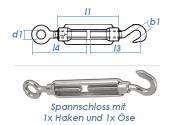 M6 Spannschloss mit 1 Ösen & 1 Haken Edelstahl A4 (1 Stk.)