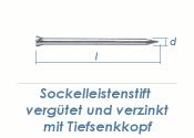 1,4 x 35mm Sockelleistenstifte vergütet Stahl verzinkt (100 Stk.)