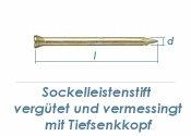 1,4 x 30mm Sockelleistenstifte vergütet Stahl vermessingt (100 Stk.)