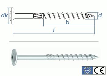 8 x 300mm Konstruktionsschrauben Tellerkopf TX verzinkt (1 Stk.)