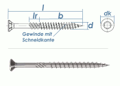 10 x 450mm Konstruktionsschrauben Senkkopf TX verzinkt (1...