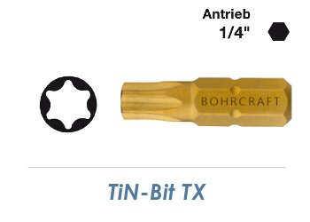 TX30 TiN-Bit  Bohrcraft 25mm lang (1 Stk.)