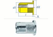 M5 x 6,9 x 15mm Blindnietmutter Flachkopf Stahl verzinkt (10 Stk.)