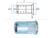 M5 x 6,9 x 11,5mm Blindnietmutter Mini-Senkkopf Stahl verzinkt (10 Stk.)