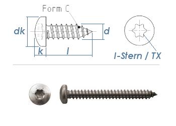 6,3 x 50mm Blechschrauben Linsenkopf TX verzinkt  DIN7981-C  (10 Stk.)