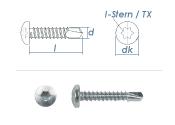 4,8 x 25mm Bohrschrauben Linsenkopf TX DIN7504 Stahl...