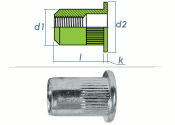 M5 x 6,9 x 12mm Blindnietmutter Flachkopf Edelstahl A2 (10 Stk.)