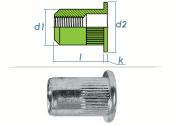 M6 x 8,9 x 14,5mm Blindnietmutter Flachkopf Edelstahl A2 (10 Stk.)