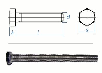 M6 x 10mm Sechskantschrauben DIN933 Vollgewinde Edelstahl A2 (10 Stk.)
