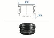 20mm / WS:1-2mm Lamellenstopfen rund PE schwarz (10 Stk.)
