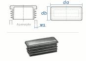 30 x 20mm / WS:1-3mm Lamellenstopfen rechteckig PE...