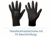 Feinstrickhandschuhe PU schwarz Gr. 10 (XL)