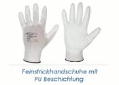 Feinstrickhandschuhe PU weiss Gr. 10 (XL)