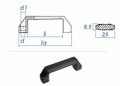 136 x 25 x 42mm verstärkter PA Kunststoffgriff  Form A  (1 Stk.)