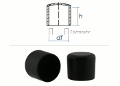8mm Kappen für Rundrohre PVC schwarz (10 Stk.)