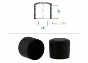16mm Kappen für Rundrohre PVC schwarz (10 Stk.)