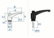M8 x 20mm Klemmhebel Serie 65 mit Gewindebolzen (1 Stk.)