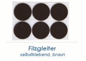 20mm Filzgleiter braun selbstklebend  (1 Karte zu 50 Stk.)