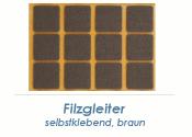 20 x 20mm Filzgleiter braun selbstklebend  (1 Karte zu 50 Stk.)