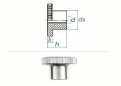 M6 Rändelmutter hohe Form DIN466 Stahl verzinkt (1...
