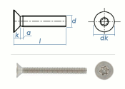 M8 x 12mm Senkschrauben TX ISO14581 Edelstahl A2 (10 Stk.)