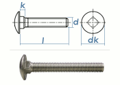 M12 x 65mm Torbandschrauben DIN603 Edelstahl A2 (1 Stk.)
