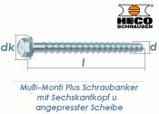 10 x 160mm MMS-plus Schraubanker mit Sechskantkopf mit...