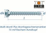 7,5 x 60mm MMS-plus Montageschienenanker TX mit flachem Rundkopf (1 Stk.)
