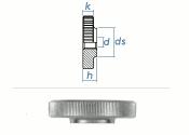 M3 Rändelmutter niedrige Form DIN467 Stahl verzinkt...