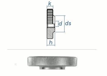 M6 Rändelmutter niedrige Form DIN467 Stahl verzinkt (1 Stk.)