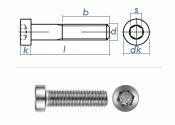 M4 x 35mm Zylinderschraube DIN7984 Edelstahl A2  (10 Stk.)